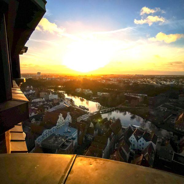 Toller Ausblick auf Lübeck von oben.