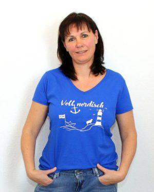 T-Shirt Voll Nordisch Damen V-Ausschnitt