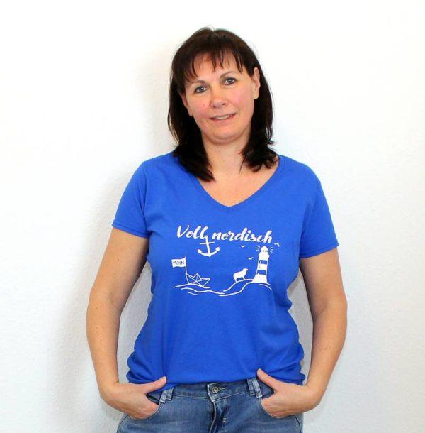T-Shirt Voll Nordisch Frauen V-Ausschnitt
